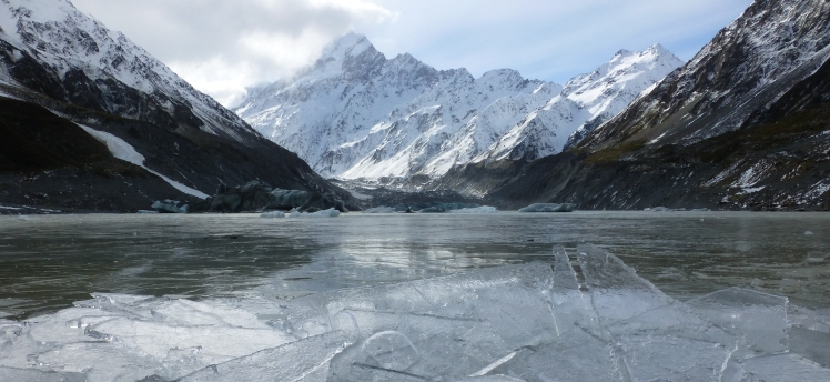 Mount Cook and Hooker Lake in Winter