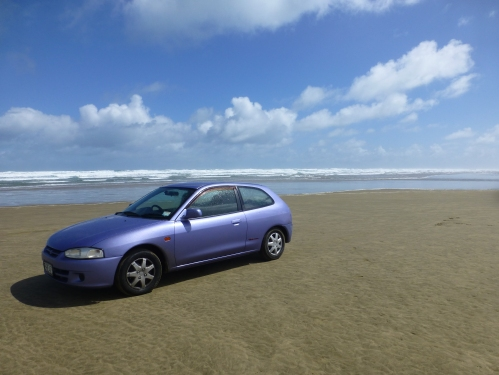 Driving on 90 Mile beach, New Zealand