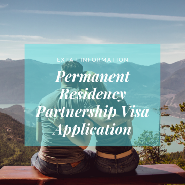 couple looking over lake and mountains, text overlay permanent residency Partnership visa application