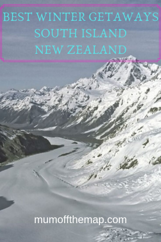 Ariel view Franz-josef glacier in Winter. Best Winter Getaways South Island, New Zealand